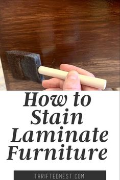 Refinishing Laminate Furniture- How to Stain Laminate Want to learn how to refinish your laminate furniture? In this step by step tutorial I'll teach you how to Stain Laminate furniture. You will learn how to Gel Stain fake Wood, to look like real wood!