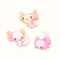Adorable mythical creature-----> its not mythical. its an axalotol. (But in pretty sure i spelt it wrong tho) >>> axolotl. Cute Kawaii Drawings, Kawaii Art, Pretty Art, Cute Art, Creature Drawings, Dibujos Cute, Cute Doodles, Cute Creatures, Sea Creatures