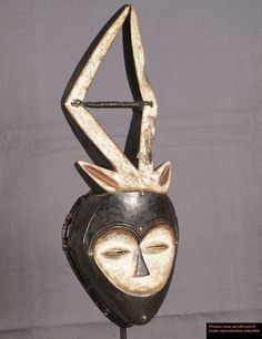 African mask with 2 horns - Gabon - Art-africain.net - art from Africa and elsewhere