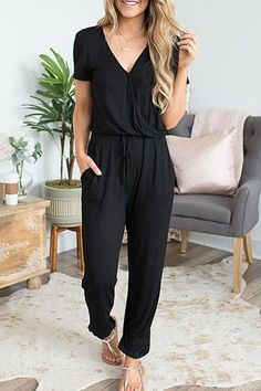 Casual V Neck Solid Jumpsuit – wanokitty romper jumpsuit summer jumpsuit casual rompers jumpsuit casual Black Jumpsuit Outfit, Jumpsuit Casual, Pant Romper Outfit, Summer Jumpsuit, Black Romper Pants, Black One Piece Jumpsuit, Tailored Jumpsuit, Fashion Week, Look Fashion
