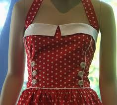 Pinup Fashion: adorable red dress with white polka dots and trim. Love the buttons.