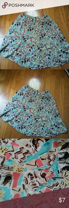 😍Skirt😍😍😍 Multicolored beautiful city streets skirt. Very flowing with much array of bright colors. Brown, orange, yellow, light blue Requirements Dresses