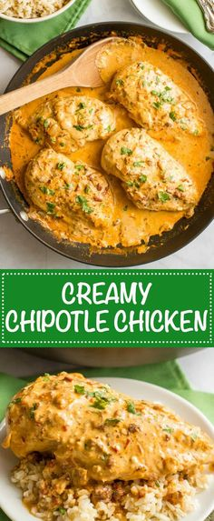 Creamy chipotle chicken is a simple but super flavorful 30-minute dinner with a delicious smoky chipotle cream sauce - that's healthy! | www.familyfoodonthetable.com