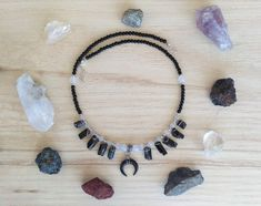 Black moon choker - Wiccan beaded choker with black double horn pendant, raw tourmaline, black agate, quartz beads and sterling silver Moon Jewelry, Jewelry Necklaces, Black Agate, Small Earrings, Beaded Choker, Gemstone Beads, Chokers, Quartz, Pendants