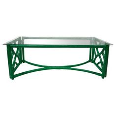 Check out this item at One Kings Lane! Rattan Glass-Top Coffee Table