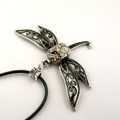 Dragonfly Necklace Watch Insect Pendant (mechanical watch movement) Steampunk Inspired
