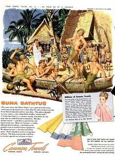 """Army Day – Crocodiles Keep Out"" Cannon Towel Ads, 1943 - Retronaut"
