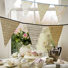 Bunting made from old maps and music sheets