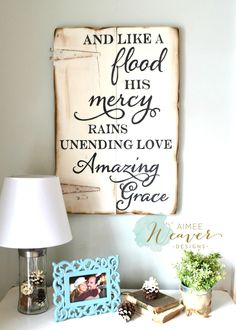 """""""And like a flood His mercy rains"""" Wood Sign {customizable} - Aimee Weaver Designs"""