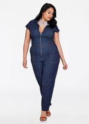 f1ab6e4c0d99c Zip Front Denim Jumpsuit. Find sales on Ashley Stewart ...