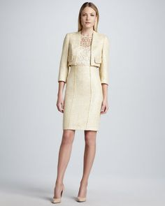 Cropped Tweed Jacket & Sleeveless Lace Bodice Tweed Dress by Kay Unger New York at Neiman Marcus.