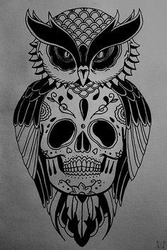 Awesome owl sugar skull tattoo idea