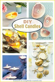 How to make seashell candles! Pictures, Ideas & Tutorials. Featured on CC: http://www.completely-coastal.com/2009/10/making-seashell-candles.html