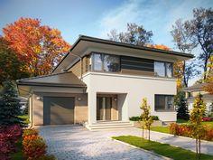 DOM.PL™ - Projekt domu TP Enes CE - DOM TP2-48 - gotowy koszt budowy House Outside Design, Design Case, Home Fashion, Exterior, Mansions, House Styles, Villa, Decorating, Home Decor