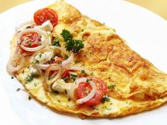 A wonderful, healthy breakfast or brunch can be centered around an omelette filled with a wide variety of veggies, meat, and cheese. This page contains omelette recipes. Breakfast And Brunch, Indian Breakfast, Breakfast Recipes, Breakfast Ideas, Breakfast Omelette, Breakfast Healthy, Sunday Brunch, Egg Recipes, Snack Recipes
