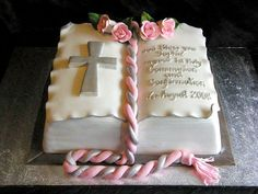 Open Book Religious Cake- Cute First Communion Cake