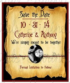 Nightmare before Christmas Save the Date/ Jack and Sally Save the Date…