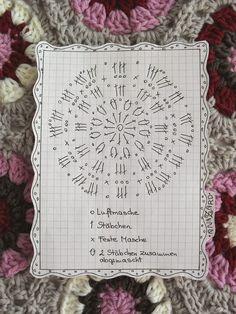 Free Crochet Chart For The 6 Eck Granny Hexagon Granny Häkeln