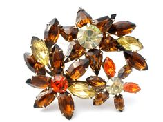 Brown & Orange Rhinestone Floral Spray Brooch Pin Vintage
