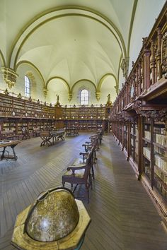 The Old Library.The University of Salamanca Spain Cathedral School, Canon Law, Spanish Inquisition, Beautiful Library, Spain And Portugal, Spain Travel, The Good Place, Places To Go, Places