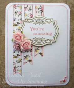 clean classic, rounded corners - use up left over paper and flowers