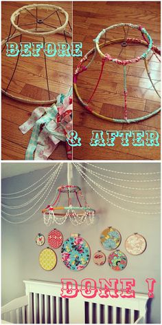 DIY chandelier {pom-poms + hoops)--love this chandelier idea.Would be perfect for some random decoration hanging in the corner of the living room Diy Bebe, Diy Chandelier, Chandeliers, Nursery Chandelier, Mobile Chandelier, Ideias Diy, Home And Deco, Crafty Craft, Crafting