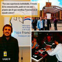 Santiago Gutiérrez, alumno de tercer año de la #Licenciatura en Ciencias de la #Comunicación, viajó a #Paraguay a cubrir la visita del #Papa Francisco en su última escala de la gira sudamericana, para el sitio web www.caminosreligiosos.com. #UADE #Periodismo #Universidad #Argentina