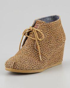 Cheetah-Print Wedge Desert Boot by TOMS at Neiman Marcus.