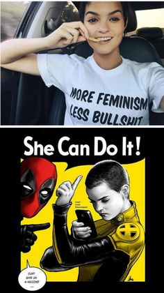 NO F'ING WAY - NEGASONIC TEENAGE WARHEAD IS A FEMINIST!!! Both photos from Brianna Hildebrand's Facebook page Artwork by Hugo Dourado