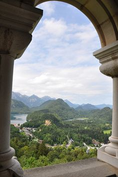 Castle Neuschwanstein, Germany. Magnificent view on the nearby mountains.