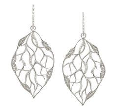 Tracey Bregman Sterling Silver Diamond Leaf Earrings