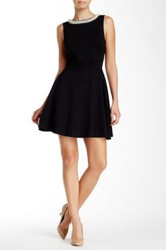 Faux Pearl Neck Skater Dress