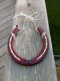 Burgundy decorated horseshoe with pearls  shabby by MauveMoose, $16.00