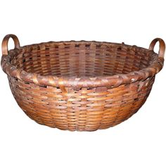 American splint basket with wood handles Cane Baskets, Old Baskets, Woven Baskets, Picnic Baskets, Vintage Baskets, Basket Weaving, Wicker Baskets, Big Basket, Country Bumpkin