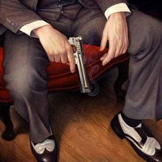 "Danny Galieote , ""Strictly Business"", Oil on Canvas"