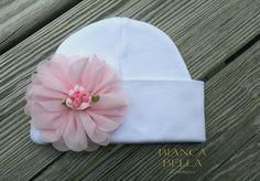 Newborn Baby Hospital Hat Pink Newborn Hat Girl Newborn Hat Baby Hat by BiancaBellaBoutique on Etsy