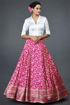 Fuscia Shikargah Zari Handwoven Banarasi Skirt With Blouse Dress Indian Style, Indian Fashion Dresses, Indian Designer Outfits, Skirt Fashion, Indian Outfits, Designer Dresses, Indian Skirt And Top, Long Skirt With Shirt, Skirt And Top Dress