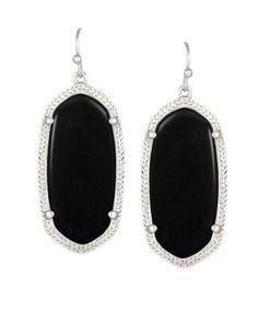 $52-60...Kendra Scott earrings in Danielle or Elle size in black onyx with silver
