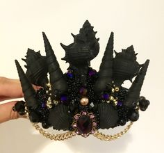 Pinterest: @MagicAndCats ☾ A personal favorite from my Etsy shop https://www.etsy.com/listing/474520449/black-mermaid-crown-sea-shell-crown
