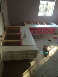This Week I Finished A Custom Corner Bed Frame For My Two Daughters Who Share