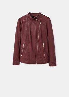 Zip-detail leather biker jacket - Plus sizes Mango, Travel Style, Leather Jacket, Plus Size, Zip, Clothes For Women, Detail, Long Sleeve, Winter 2017
