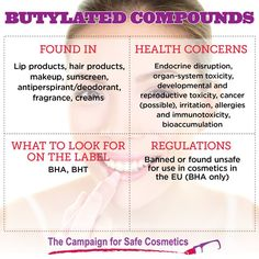 Butylated hydroxyanisole (BHA) and butylated hydroxytoluene (BHT) are used as preservatives in a variety of personal care products & also in foods. Banned in the EU, these chemicals are linked to endocrine disruption and organ-system toxicity. Get the story: http://www.safecosmetics.org/get-the-facts/chemicals-of-concern/butylated-compounds/#sthash.QWiYIHsY.dpuf #safecosmetics #Shiftcon #EU