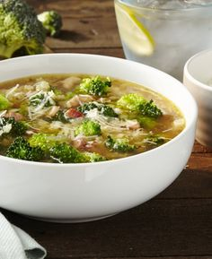 Healthy broccoli soup with a light, silky texture. Broccoli Soup, Hot Soup, Healthy, Ethnic Recipes, Food, Broccoli Soup Recipes, Meal, Eten, Meals