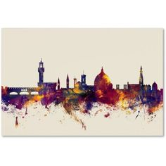 Trademark Fine Art 'Florence Italy Skyline' Canvas Art by Michael Tompsett, Red