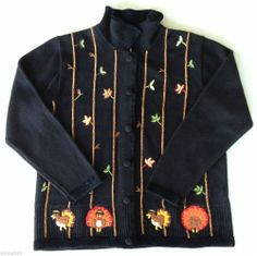 Quacker Factory Cardigan Sweater Turkey Thanksgiving Embroidered Women's L Large
