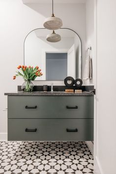 bathroom with a floating greenish gray vanity and black and white floor tiling Dining Room Paint Colors, Cabinet Paint Colors, Door Paint Colors, Stone Fireplace Surround, Painting Bathroom Cabinets, Classic White Kitchen, Bed Wall, Luxury Vinyl Plank, Painted Doors