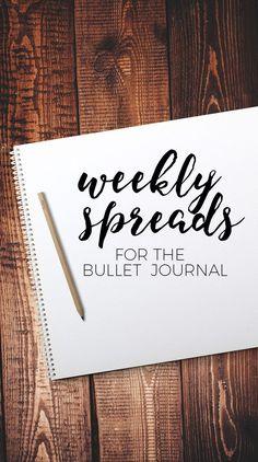 Bullet Journal Weekly Spread ideas! Tons of ideas!