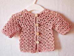 Crochet Lace Cardigan, baby cardigan, pink, crochet pattern