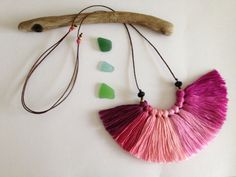 Peonies pink  Fiber necklace Ombre tassels by NinaPaco on Etsy, €26.00