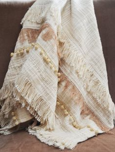 Check out our blankets and throws selection for the very best in unique or custom, handmade pieces from our shops. Boho Duvet Cover, Sofa Throw, Boho Throw Blanket, Bedroom Colour Palette, Bed Scarf, Tassel Curtains, Embroidered Lace Fabric, Textiles, Shades Of Beige